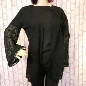 Haute Society Long Bell Sleeve Lace Cardigan XS